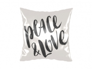 Vankúšik, satén, Peace&Love, 25x25 cm