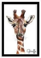 Plagát v ráme, Giraffe - čierny rámik, 20x30 cm