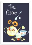 Plagát v ráme, Tea time - biely rámček, 20x30 cm