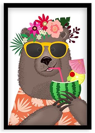 Plagát v ráme, Bláznivý medvedík - čierny rámik, 40x60 cm