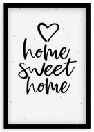 Plagát v ráme, Home,sweet home - čierny rám  , 20x30 cm