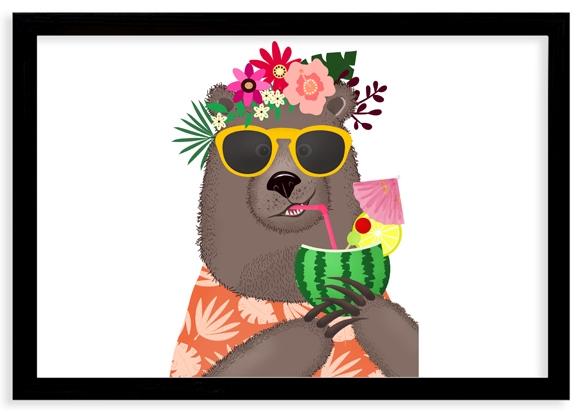Plagát v ráme, Bláznivý medvedík - čierny rámik, 40x30 cm