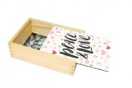 Drevená krabička, Peace & Love, 12x17 cm