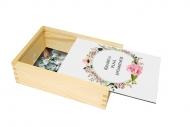 Drevená krabička, Kvetiny, 12x17 cm