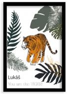 Plagát v ráme, Tiger - čierny rámik, 20x30 cm