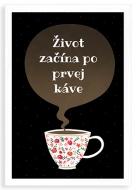 Plagát v ráme, Káva - biely rámček , 20x30 cm