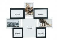 Fotorámček Pre 8 fotografií čierno-biely, 42,5x55,5 cm