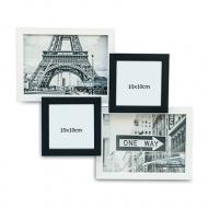 Fotorámček Pre 4 fotografie čierno-biely, 32x37 cm