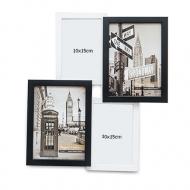 Fotorámček Pre 4 fotografie čierno-biely, 38,5x38,5 cm