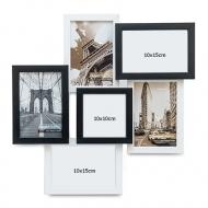Fotorámček Pre 6 fotografií čierno-biely, 40x40 cm